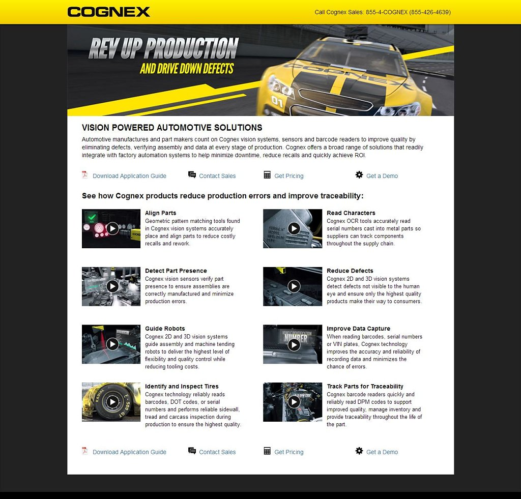 Vision - Automotive Solutions landing page